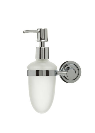 matted: matted glass and chrome liquid soap dispenser