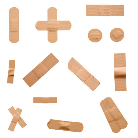various strips of band aid isolated on white