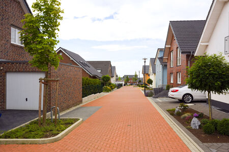 suburban: view into suburban street in Germany