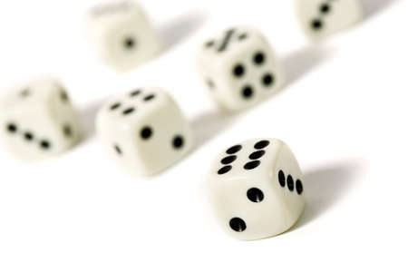 tilted view: six dice on white background, tilted view Stock Photo