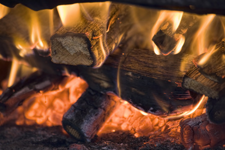 incandescence: logfire in bakers oven, digitally enhanced