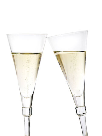 toasting with champagne in crystal glasses