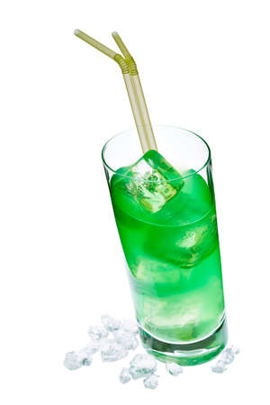 longdrink: green longdrink in slanted glass with crush ice and staws isolated on white