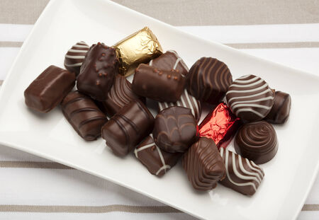 pralines: variety of pralines on plate Stock Photo
