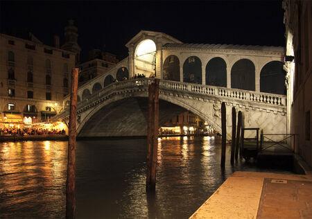 rialto: The famous Rialto Bridge at Venice by night