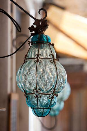 murano: decoratibe lamp �utside of glassblowers workshop at Murano, venice