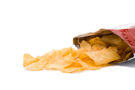 opened bag: opened bag of potato chips with copy space