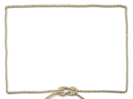 cadre décoratif à partir d'un cordon d'or avec un n?ud plat au fond, fond blanc comme espace de copie Banque d'images