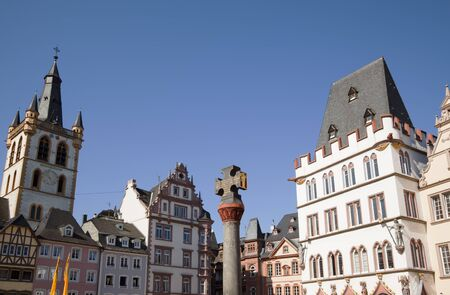 houses at the Hauptmarkt of Trier, Germany Editorial
