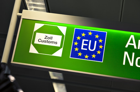 customs: european union customs sign at airport