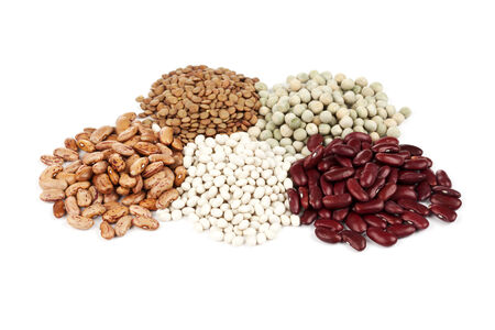 pinto bean: various legumes - beans, lentils and peas - on white background