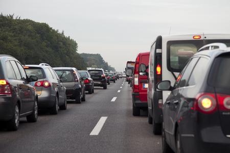 heavy traffic on german motorway