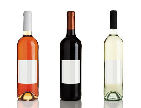 rose wine: rose wine, red wine, white wine bottles isolated on white background