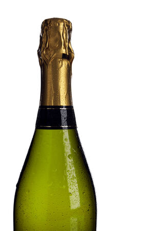 upper half: champagne bottle with dew drops, upper half, isolated on white