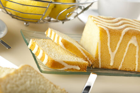 tilted view: closeup of lemon cake, tilted view