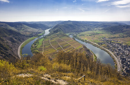 mosel: bow of the Mosel river, view from Calmont hill Stock Photo
