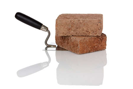 brownstone: two brownstone bricks on trowel isolated