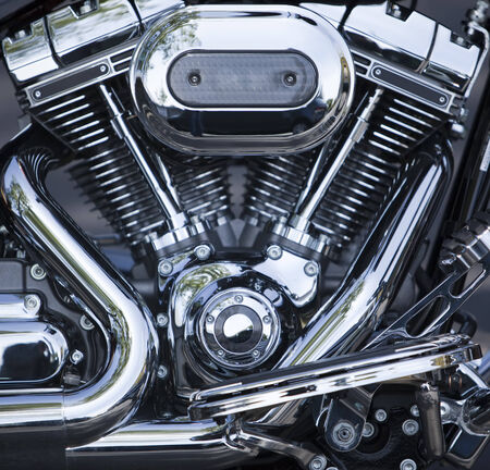 chromeplated: V-Twin motorcycle motor, chrome-plated and polished