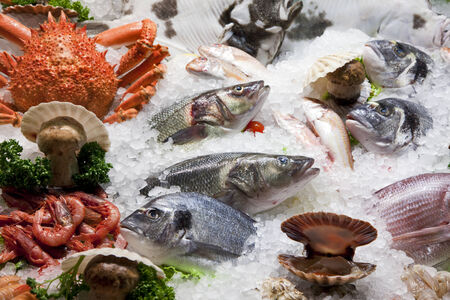 variety of fish and seafood on ice bed Stock Photo