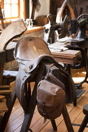 saddler: workshop of a saddler Stock Photo