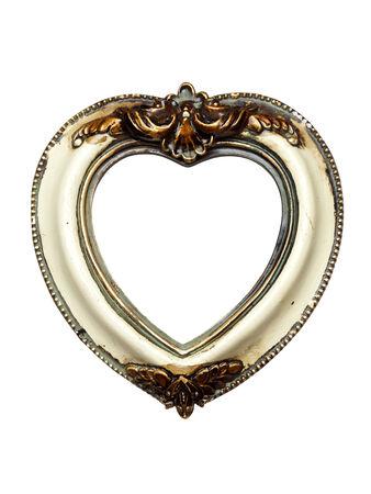 Baroque picture frame: en forme de coeur cadre photo baroque isol� sur blanc