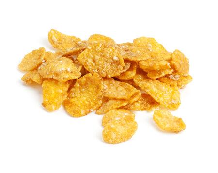 sugarcoated: heap of sugar-coated corn flakes isolated on white Stock Photo
