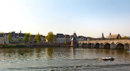 maas: panoramic view of Maas river, old town of Maastricht and Saint Servatius bridge