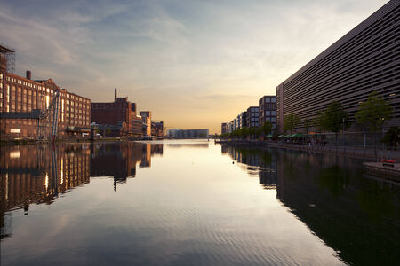 wide angle view of Duisburg Inner Harbor at Sunset