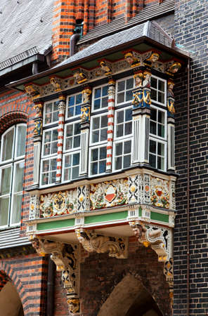 tooled: ornate balcony at Lubeck town hall Stock Photo