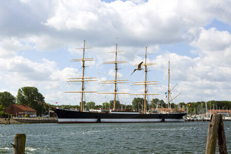 barque: four-masted steel barque Passat anchored at the harbor of Lubeck-Travemunde