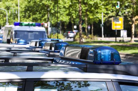 emergency lights on top of german police cars