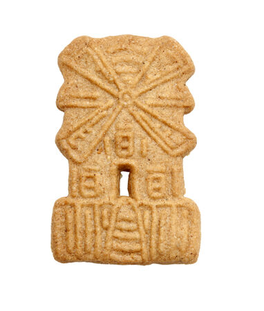 speculaas: windmill shaped dutch speculaas almond cookie isolated on white