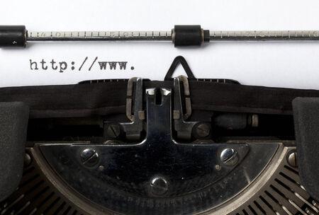 url: beginning of URL written on old typewriter Stock Photo