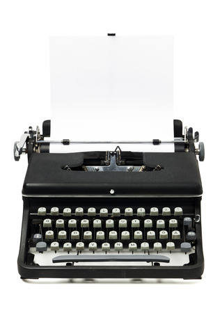 gritty: gritty typewriter from the 1960s with blank sheet of paper, isolated on white background