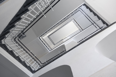 tilted view: rectangular staircase form below, tilted view