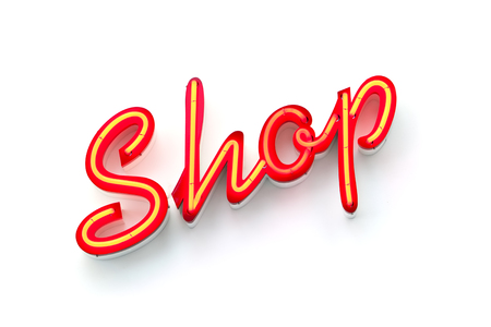 Shop neon sign on white wall Stock Photo