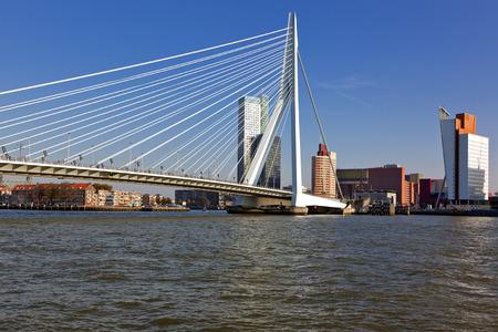 meuse: Erasmus Bridge across the River Meuse and the Wilhelmina Pier at Rotterdam Stock Photo