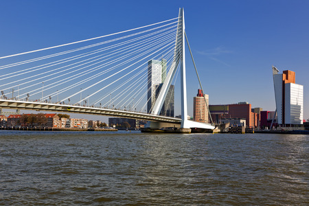 Erasmus Bridge across the River Meuse and the Wilhelmina Pier at Rotterdam Foto de archivo
