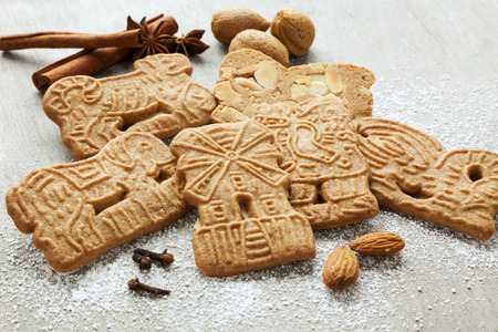 dutch speculaas biscuits and spices Stock Photo
