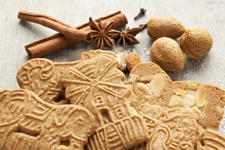 dutch clover: speculaas biscuits with spices and almonds Stock Photo