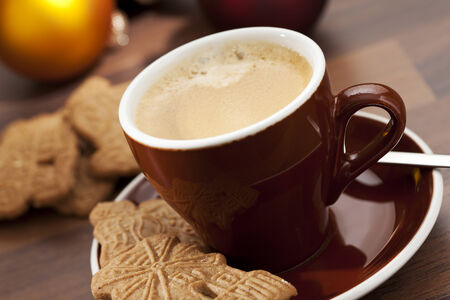 speculaas: cup of coffee and speculaas cookies Stock Photo