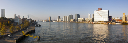 euromast: panoramic view of Rotterdam in the morning with River Meuse, Erasmus Bridge, Waterfront