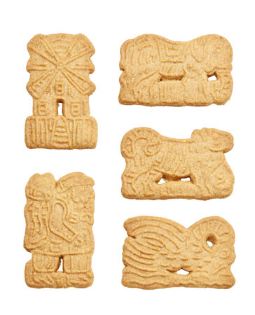 speculaas: traditional dutch speculaas cookies on white background Stock Photo