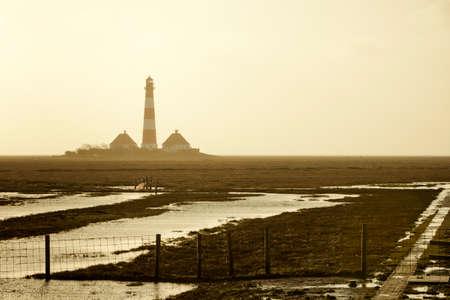 westerhever: Westerhever lighthouse, North Frisia, in the fog