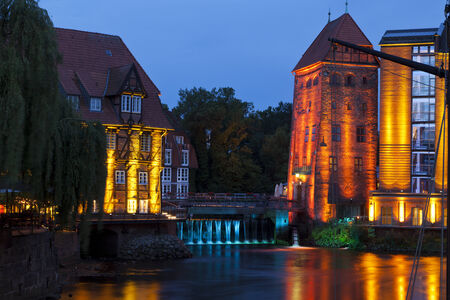 watermills: Two historic watermills at the old harbor of Lueneburg, Germany