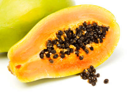 cloesup: cloesup of halved papaya fruit