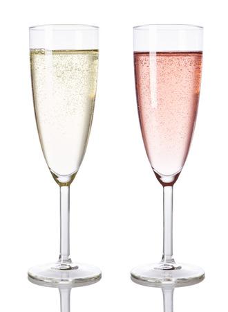 Glasses of white and rose chamopagne isolated photo