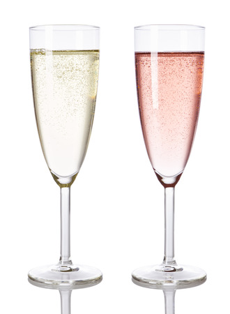 Glasses of white and rose chamopagne isolated