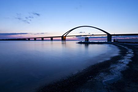 sund: night shot of the Fehmarnsund bridge in winter