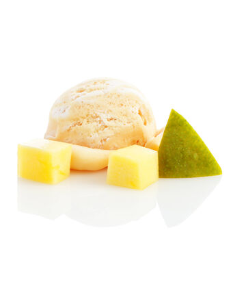 ice cream ball with pieces of mango isolated on white background photo
